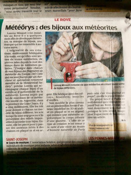 Article Météôrys dans La Provence octobre 2020
