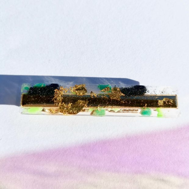 Barrette Meteorys Olivine resine epoxy meteorite